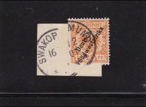 DSWA: MiNr. 9a, gestempelt Swakopmund 1901, Briefstück