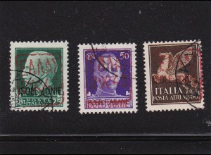 Zante: Landpost, Flugpostmarken mit Aufdruck: MiNr. 1-3 II, gestempelt