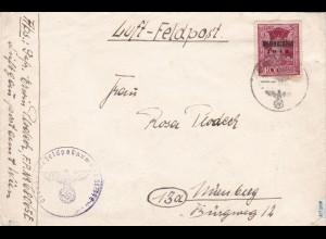 Rhodos: Luftfeldpostbrief mit Inselpost Zulassungsmarke - Weihnachten 1944, BPP