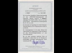 Feldpost MiNr.10 B c, Feldersatzabteilung Rhodos auf Brief 1945, 2x BPP Attest
