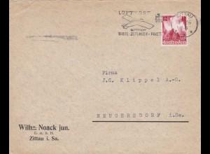III. Reich: MiNr. 633 FDC von Zittau nach Neugersdorf 1936