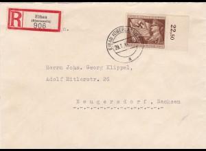III. Reich: MiNr. 865 FDC von Eibau als Einschreiben nach Neugersdorf 1944