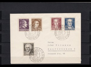 SBZ: MiNr. 234-238, Goethe, gestempelt mit seltenem Sonderstempel Leipzig 1949