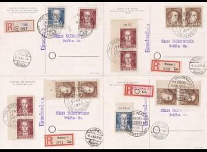 SBZ: MiNr. 235-237, 4 Karten als Einschreiben mit verschiedenen Sonderstempeln