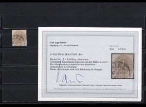 Schleswig-Holstein: MiNr. 12, gestempelt Kiel 1865, BPP Befund
