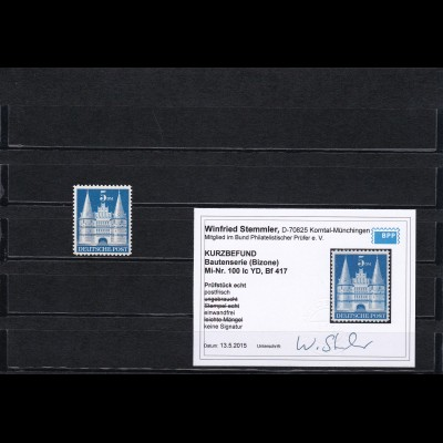 Bizone: MiNr. 100 IC YD Bf417, postfrisch, BPP Befund