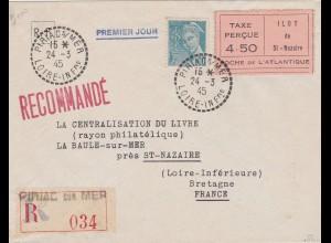 Frankreich: Saint Nazaire, MiNr. 3 II auf R-Brief
