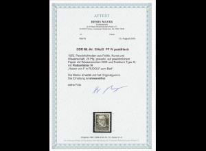 DDR: MiNr. 334zXI, Plattenfehler IV, postfrisch, **