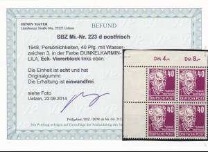 SBZ: MiNr. 223 d, postfrisch, ** Eckrand Viererblock