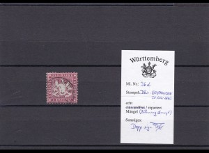 Württemberg: MiNr. 26d, BPP Signatur, gestempelt