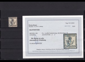 Hannover: MiNr. 22y, gestempelt, BPP Befund