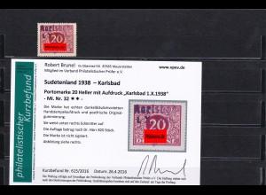 Sudetenland: MiNr. 32 ** und 37*,