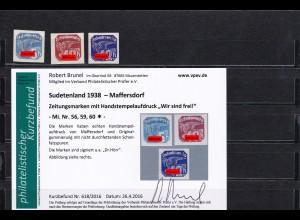 Sudetenland: MiNr. 56,59,60, * Handstempelaufdruck Zeitungsmarken