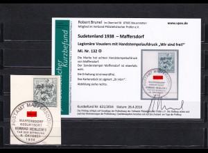 Sudetenland: MiNr. 132, gestempelt, Handstempelaufdruck - Legionäre - Vouziers