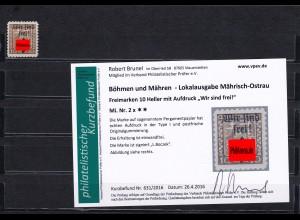 Böhmen&Mähren: Mährisch -Ostrau, MiNr. 2x, **