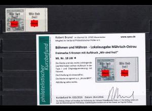 Böhmen&Mähren: Mährisch -Ostrau, MiNr. 18 LW, *