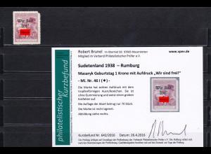 Sudetenland: MiNr. 46I, * Rumburg, Mängel, ABER: Nur 70 Stk Auflage