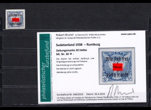 Sudetenland: MiNr. 20 * Rumburg
