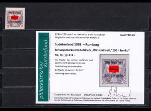 Sudetenland: MiNr. 19, **, Rumburg