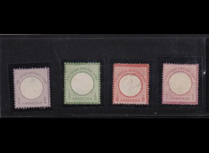 Deutsches Reich: MiNr. 1,2a,3,4 BPP Befund, ohne Gummi