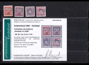 Sudetenland: MiNr. 3A, 5,8,9 **- Karlsbad