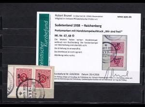 Sudetenland: MiNr. 67, 68, gestempelt, Handstempelaufdruck Zeitungsmarken