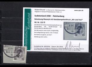 Sudetenland: MiNr. 123, gestempelt, Handstempelaufdruck - Reichenberg