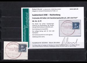 Sudetenland: MiNr. 21, gestempelt, Handstempelaufdruck - Reichenberg