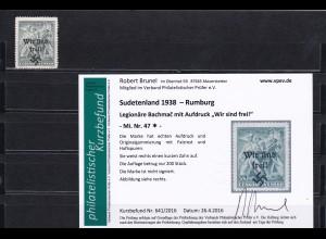 Sudetenland: MiNr. 47, * Rumburg, Legionäre Bachmac