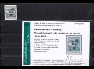 Sudetenland: MiNr. 45I, * Rumburg