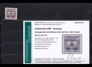 Sudetenland: MiNr. 19I, **, Rumburg