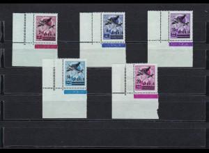 1942 Serbien: Flugpostmarken: MiNr,. 66-70L, postfrisch - ECKRAND