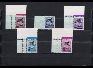 Serbien 1942: Flugpostmarken: MiNr,. 66-70L, postfrisch - ECKRAND