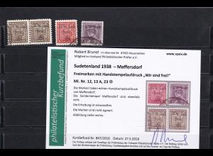 Sudetenland 1938- Maffersdorf: MiNr. 12,13A,23, gestempelt
