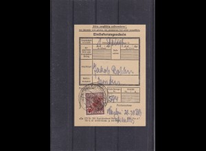 Berlin: Rotaufdruck: MiNr. 25 EF auf Einlieferungsschein 1949