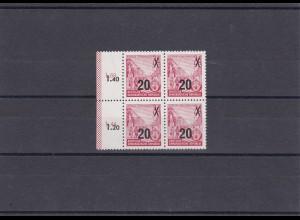 DDR: MiNr. 439 aII g XI, **, Viererblock, BPP Attest, Jahrgang 1954 SELTEN !!!