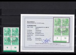 DDR: Minr. 406 XI, DKV 1, gestempelt, Viererblock, 1954, BPP Befund