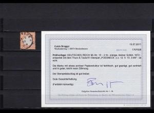 Deutsches Reich: MiNr. 15, gestempelt, kleiner Schild, BPP Befund