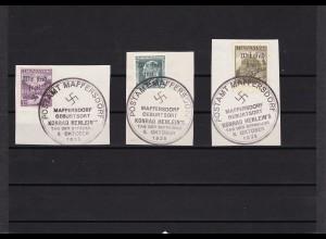 Sudetenland: MiNr. 30, 34, 35, gestempelt