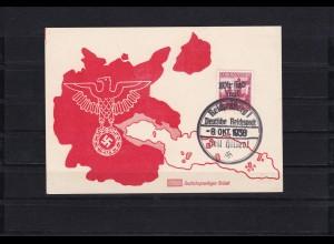 Sudetenland: MiNr. 25 auf Propagandakarte, Stempel Reichenberg Wir sind frei