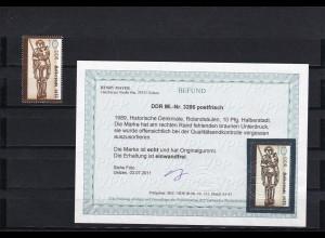 DDR: MiNr. 3286, postfrisch, fehlender Unterdruck