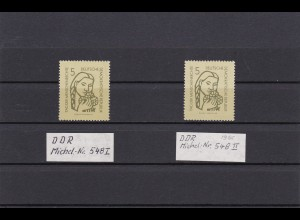 DDR: MiNr. 548 I und II, postfrisch, BPP Signatur