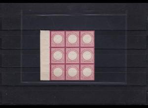 Deutsches Reich: 25 (9er Block), postfrisch, 1x Plattenfehler, BPP Attest
