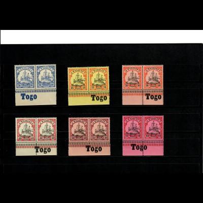 Deutsche Kolonien: 6x Togo mit Inschrift Unterrand