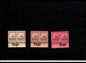 Deutsche Kolonien: 3x Togo mit Inschrift Unterrand