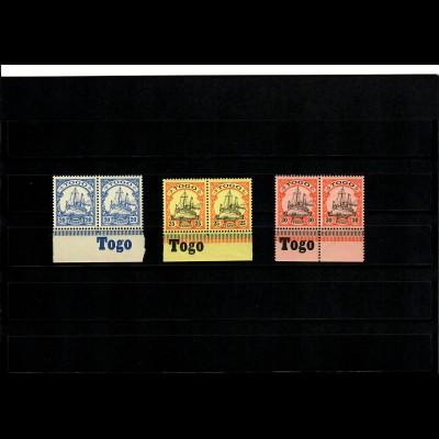 3x Togo mit Inschrift Unterrand
