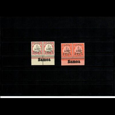 Deutsche Kolonien: Samoa 2x mit Inschrift Unterrand, postfrisch