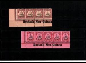 Deutsche Kolonien: Deutsch-Neu-Guinea, 2x Eckrand mit Inschrift