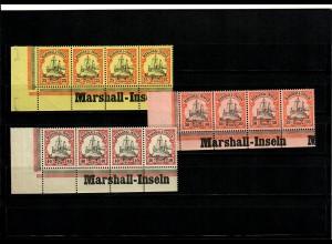 3x Marschall-Inseln postfrisch, Eckrand mit Inschrift, 4er Streifen