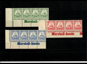 Deutsche Kolonien: 3x Marschall-Inseln, Eckrand mit Inschrift, 4er Streifen